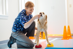 Above left: Pamela Levin, DVM, CVA, CCRT, CVPP (Certified Veterinary Acupuncturist, Certified Canine Rehabilitation Therapist, Certified Veterinary Pain Practitioner) works on balance and core strength with Hobbs.